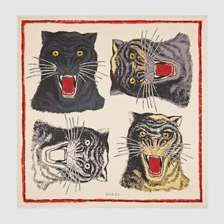 Gucci Tiger Face print silk scarf