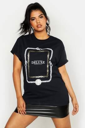 boohoo Plus Foil Print Chain Deluxe Slogan T-Shirt