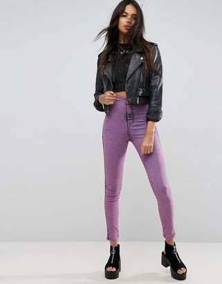 Asos DESIGN RIVINGTON High Waist Denim Jeggings in Pink Acid Wash