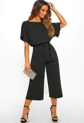 e146e216720 Pink Boutique Always Chic Black Belted Culotte Jumpsuit
