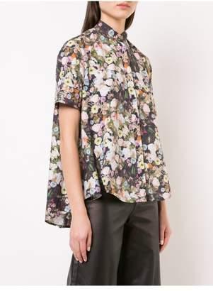 ADAM by Adam Lippes Printed Poplin Short Sleeve Trapeze Shirt