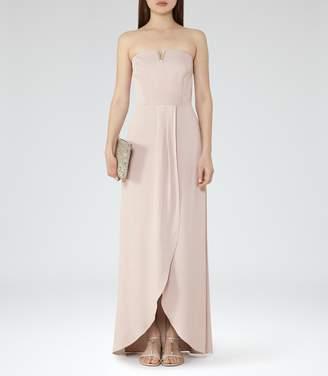 Reiss ZOSIA STRAPLESS WRAP-FRONT MAXI DRESS Jasmine Shimmer