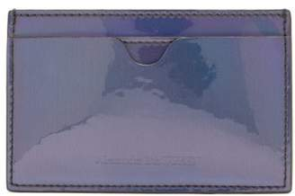 Alexander McQueen Embossed Iridescent Leather Card Holder - Mens - Black Multi