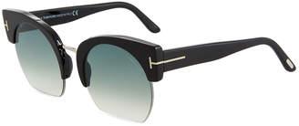 Tom Ford Savannah Semi-Rimless Cropped Round Sunglasses