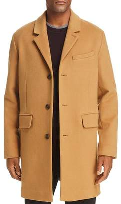 Cole Haan Luxe Leather-Trimmed Lambswool Coat