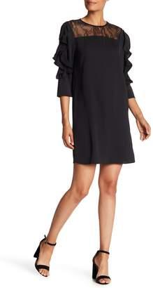 Philosophy Cashmere Jewel Neck 3/4 Length Ruffle Sleeve Dress