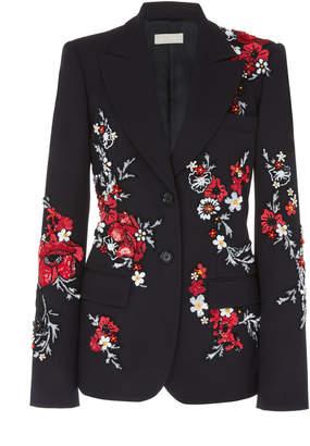 Elie Saab Embroidered Wool-Blend Tuxedo Jacket
