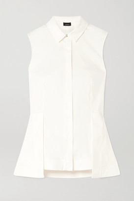 Akris Stretch Cotton-blend Poplin Peplum Top - Ivory