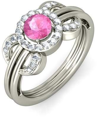 PEACOCK JEWELS 14K Gold (HallMarked), 0.24 cttw Diamond (IJ | SI ) Pink Sapphire and Diamond Engagement Wedding Ring Size - 7.5