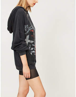 The Kooples Skull-print chain-embellished cotton-jersey hoody