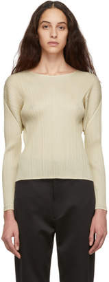Pleats Please Issey Miyake Beige Pleated Sweater