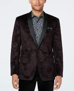 Tallia Men's Big & Tall Slim-Fit Burgundy Floral Velvet Dinner Jacket