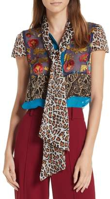 Alice + Olivia Jeanie Tie Neck Mixed Burnout Blouse