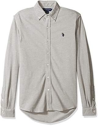 U.S. Polo Assn. Men's Long Sleeve Slim Fit Birdseye Pique Button Down Sport Shirt