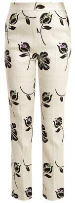 Huishan Zhang - Candice Floral Jacquard Straight Leg Trousers - Womens - Cream Multi