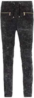Balmain Slim Leg Panelled Cotton Track Pants - Mens - Black