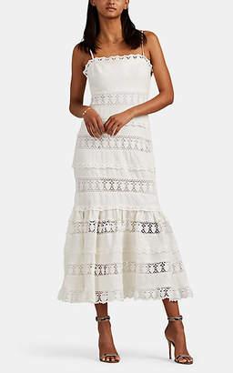 Zimmermann Women's Wayfarer Crocheted-Inset Linen Strapless Dress - White
