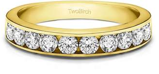 Charles & Colvard TwoBirch Yellow Silver Ladies Ring Charles Colvard Created Moissanite(1Ct)Size 3 To 15 in 1/4 Size Intervals