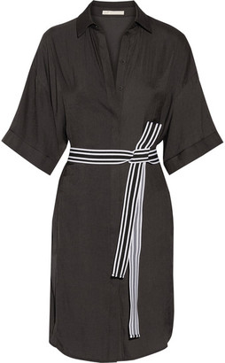 Maje - Belted Twill Shirt Dress - Midnight blue $275 thestylecure.com