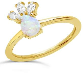 Sterling Forever 14K Yellow Gold Plated Sterling Silver Created Opal & CZ Ring