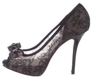 Christian Dior Lace Peep-Toe Pumps
