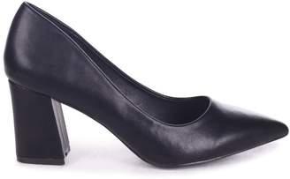 7b9837b6b Linzi MAGIC - Black Nappa Block Heel Court Shoe