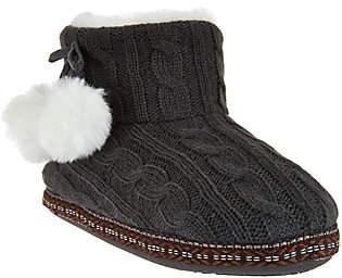Cuddl Duds Faux Fur Lined Ankle Bootie Slippersw/ Foam Insole