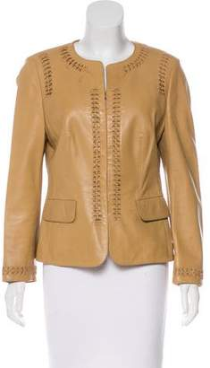 Rena Lange Leather Collarless Jacket