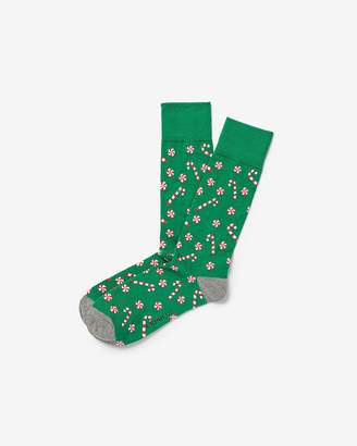 Express Candy Cane Green Dress Socks