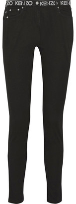 KENZO - Printed Mid-rise Skinny Jeans - Black $240 thestylecure.com