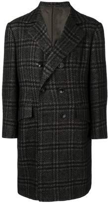 Kiton double-breasted check coat