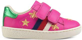 Gucci Toddler bees and stars leather sneaker