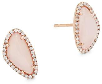 Meira T Women's Diamonds, Rose Quartz and 14K Rose Gold Stud Earrings, 0.28 TCW