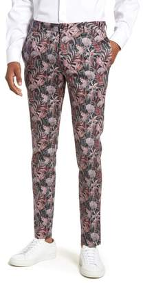 Topman Ultra Skinny Fit Hibiscus Print Suit Trousers