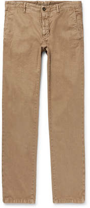 Incotex Slim-Fit Herringbone Stretch Linen And Cotton-Blend Trousers