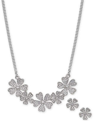 """Charter Club Silver-Tone Crystal Flower Collar Necklace & Stud Earrings Set, 17"""" + 2"""" extender"""
