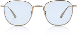 Oliver Peoples THE ROW Board Meeting Round-Frame Metal Sunglasses