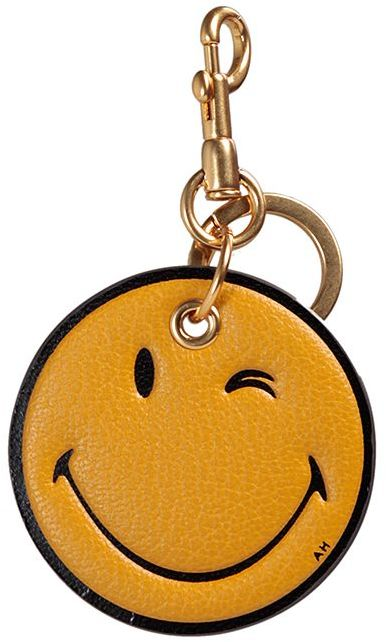 Anya Hindmarch Anya Hindmarch Wink Smiley Leather Key Ring
