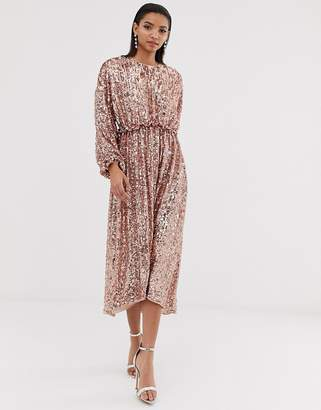 Asos Edition EDITION open back waisted midi dress in sequin