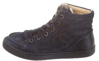 Chanel CC Suede High-Top Sneakers Navy CC Suede High-Top Sneakers