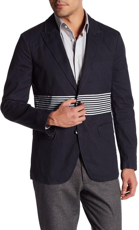 BonobosBonobos Navy Striped Two Button Peak Lapel Cotton Trim Fit Blazer
