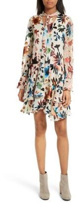 Women's Alice + Olivia Moran Tiered Floral A-Line Dress