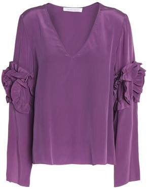 See by Chloe Ruffle-Trimmed Washed-Silk Blouse
