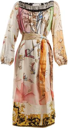 RIANNA + NINA Vintage patchwork scarf-print silk dress