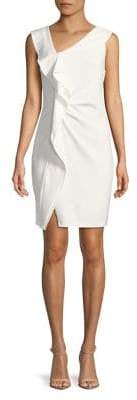 Halston H Asymmetrical Ruffle Sheath Dress
