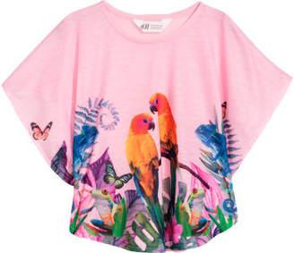 H&M Wide-cut Printed Top - Pink