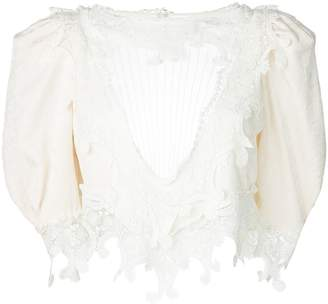 Saint Laurent Lace front yoke blouse