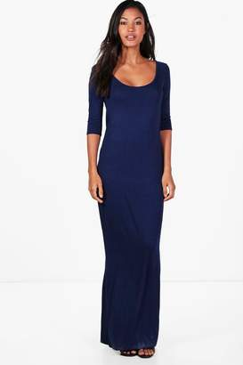 boohoo Shelly 3/4 Sleeve Scoop Neck Maxi Dress $20 thestylecure.com