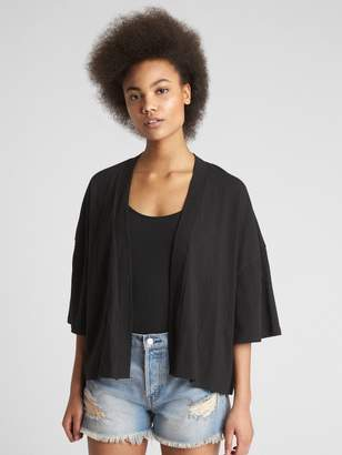 Gap Short Sleeve Crinkle Open-Front Cardigan