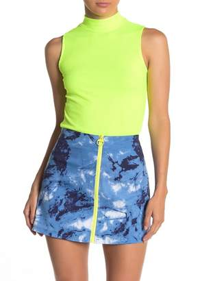 Know One Cares Ribbed Neon Mock Neck Tank
